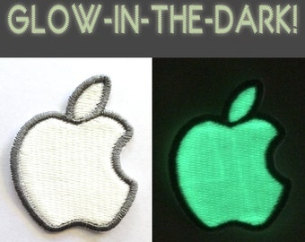 Apple Mac Computer Glow-in-the-Dark Logo, Iron-on Embroidered Patch