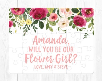 Flower Girl Proposal Puzzle Flower Girl Proposal Card Flower Girl Puzzle Proposal Will You Be My Flower Girl Ask Flower Girl Pink Green Fun