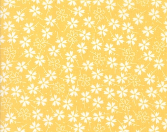 Lulu Lane Pansies fabric in Buttercup Yellow by Corey Yoder for Moda Fabrics #29023-13