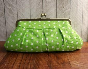 Spring green clutch purse, polka dot clutch, framed clutch bag, spring fashion