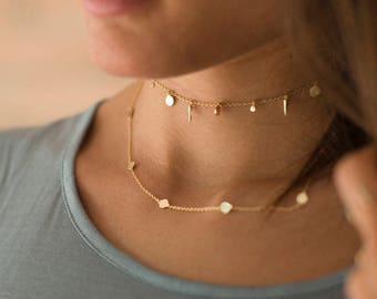Delicate gold necklace - gold circle necklace - layering necklace - minimal necklace