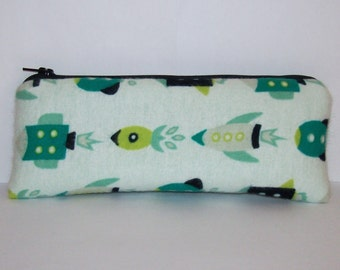 "Pipe Pouch, Green Rockets Bag, Pipe Case, Padded Pipe Bag, Padded Pipe Cozy, Vape Pen Bag, Stoner Gift, Hipster Bag, Cute Bag - 7.5"" LARGE"
