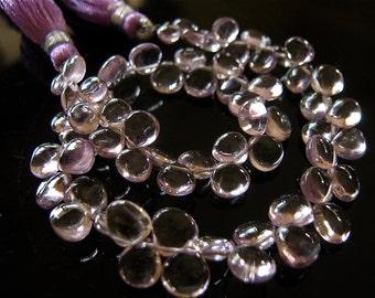 DESTASH - 5 pieces of Pretty Pink Amethyst Smooth Heart Briolette Semi Precious Gemstone Beads 6mm