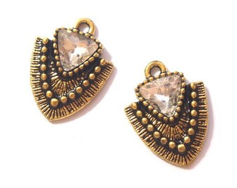 2 charms tip and ethnic rhinestone goldtone 21x16mm