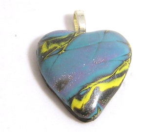 Polymer Clay Love Heart Pendant Necklace. Mokume Gane Style in blue & yellow design. Unique one of a kind statement piece. Wearable Art.