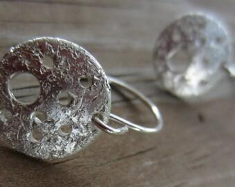 SALE! Holey Earrings, Silver Disc Earrings, Crater Earrings, Starry Night Earrings (Small)