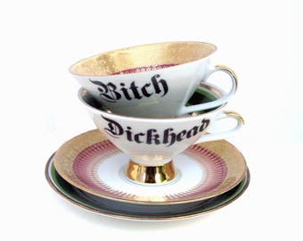 Bitch and Dickhead Set of Teacups