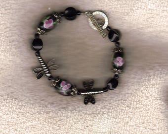 floral and dragonfly bracelet