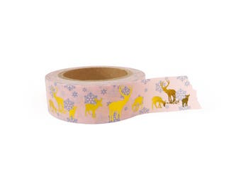 Washi tape - Christmas, snow flakes, deer, gold foil, stationery, stationary, LittleLeftyLou, Snail Mail, Happy mail, masking tape, 10 meter