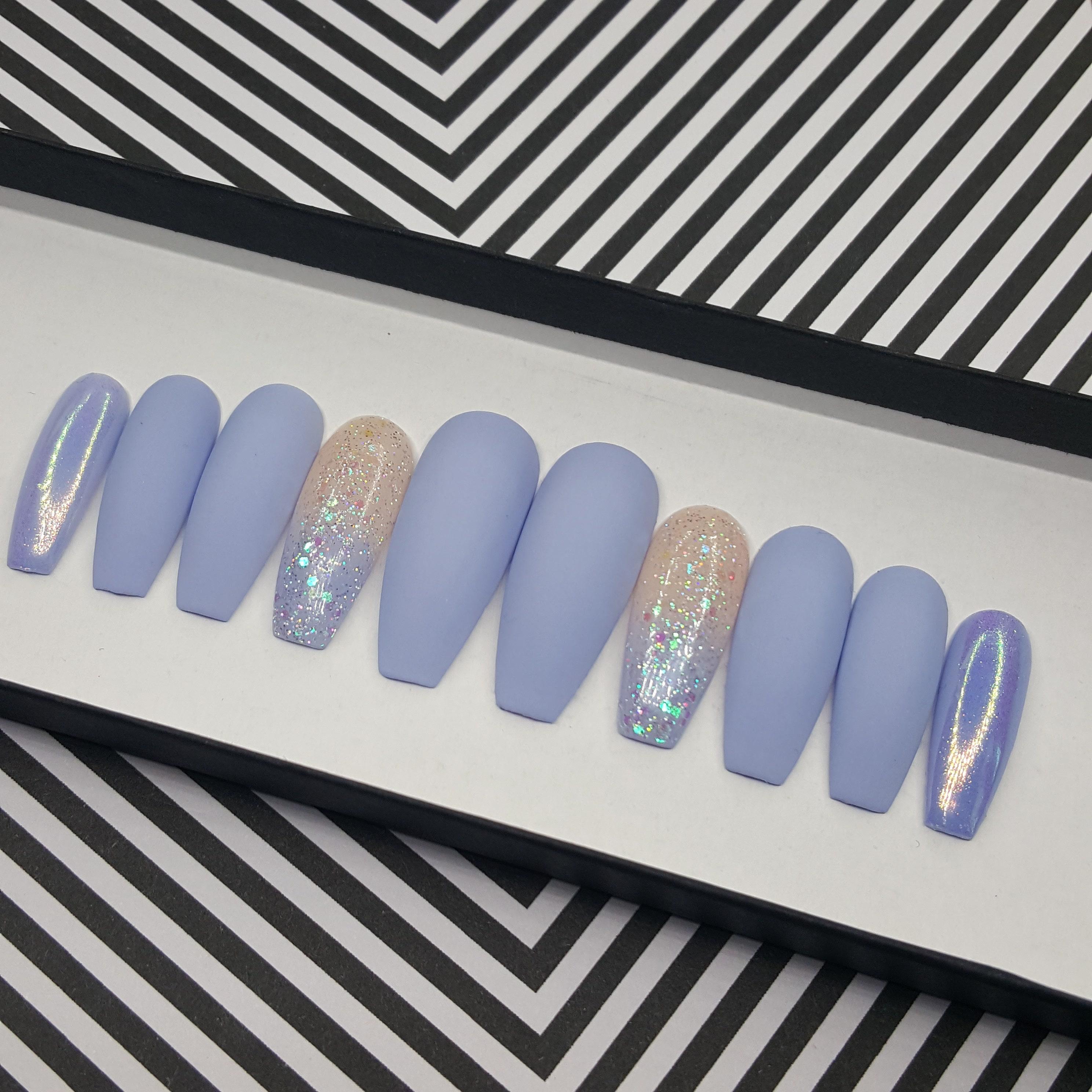 BABY BLUES Matte Blue Press On Nails Fake Nails Custom Glitter