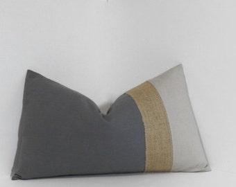 Colorblock neutrals & burlap pillow cover ~ lumbar pillow cover, burlap, grey, linen accent throw pillow, home decor accent