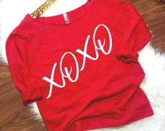 XOXO Shirt, Valentines T Shirt, Valentines Shirt Women, Valentines Day Clothing, Valentines Shirt, Valentines Day Shirt, Hugs and Kisses