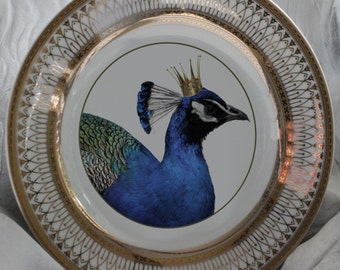 Gold or Silver Peacock Bird Dishes, Peacock Plates, Bird Dinnerware, Wedding Plates, Wedding China, Custom Dishes, Personalized Plates