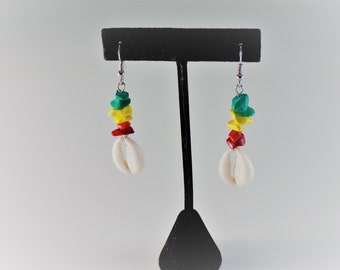 Rasta Rocks Cowrie Shell Earrings