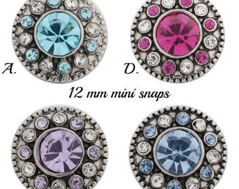 Petite 12mm snap charms fit mini snap jewelry including Petite Ginger Snaps. Silver plate rhinestone snaps will fit all 12 mm snap jewelry