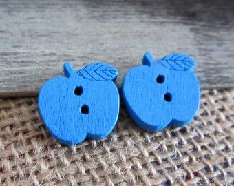 5 x 17mm blue wooden Apple buttons