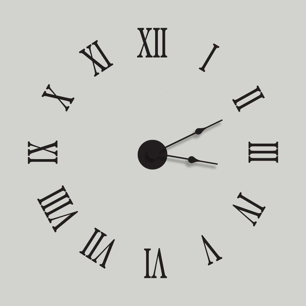 Large Wall Clock Vinyl Wall Decal Clock Kit With Extra Large