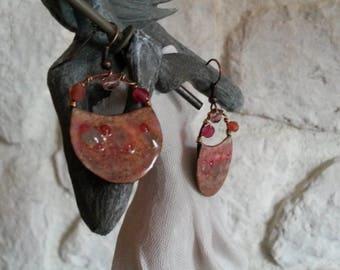 Earrings handcrafted hoops boho chic, pink and beige copper enamel and glass, women gift, copper enamel