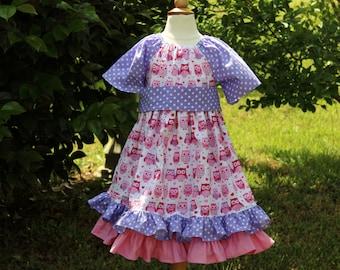 Easter Dress - Girls Ruffle Dress - Peasant Dress - Princess Dress - Owl Dress - Girls Pink Dress - Girls Purple Dress - Boutique Dress