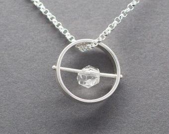 Herkimer Diamond, Circle Pendant Sterling Silver. OOAK