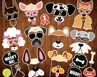 Dogs Party Photo Booth Props - Printable PDF - Puppy Photobooth Props - Dog Birthday Party - Printable Dog Masks - Dogs Props