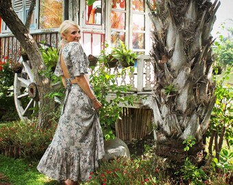Crop Top, Hippie Dress, Floral, Summer dress, Gypsy Dress, Gypsy Skirt, Wrap Skirt, festival skirt, Top Bell Sleeves, Maxi Skirt, Boho Skirt