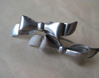 Bow Sterling Earrings Screw Silver Vintage 925