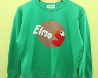 Vintage Sesame Street Elmo Sweatshirt Cartoon Sweater Size LL