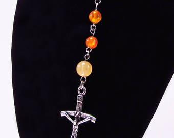 Rosary, Orange Cats Eye, Fiber Optics Beads, Acrylic, Religious, Spiritual, Silver Tone Metal, Catholic, Prayer, Necklace