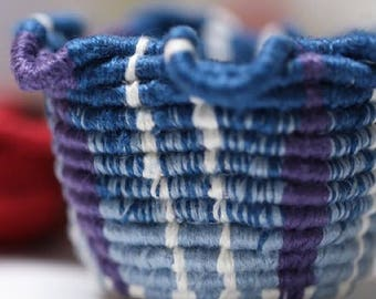 Morning glory miniature coiled linen basket
