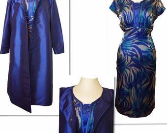 Organza Silk Blue Print Dress complimented with Silk Blue Jacket