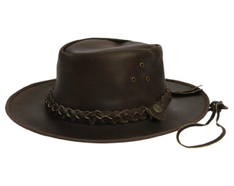 Leather Hat Aussie Cowboy Western Bush Style Outback Mens Womens