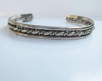 """Sterling Silver Twisted Rope Cuff Bracelet  - 6-7""""    1807"""