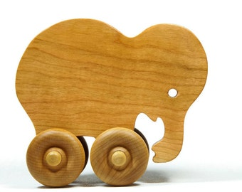 Elephant Car Wood Push Toy