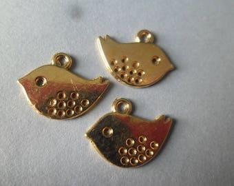 x 5 shape bird pendants gold 16 x 13 mm
