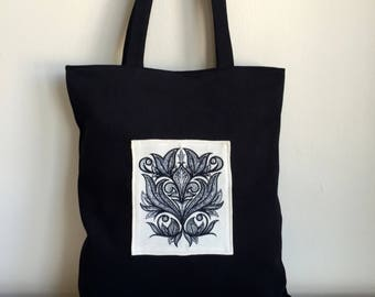 Black Canvas Tote Bag,Embroidered Bag,Boho Tote Bag,Black Canvas Tote,Canvas Purse,Black Shoulder Bag,Black Canvas Tote Bag,Everday Tote Bag