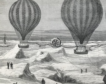 Marvellous inventions print. Original 1850s engraving from The Graphic magazine. Beautifully drawn. Balloon ship for Polar Expedition.