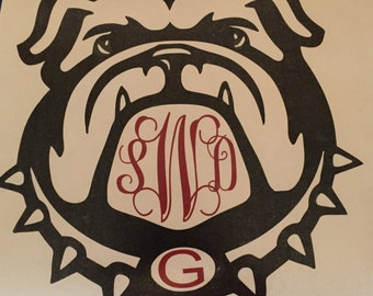 Bulldog car window decal, Car Decal, Bulldog Monogram car Decal, Bulldog Car Assessory, Window Decal, Monogram Sticker