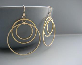 Gold Multi Hoop Earrings - dangle linked circle, modern minimalist jewelry - Sunset