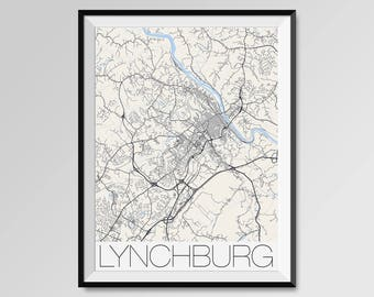 Lynchburg map Etsy