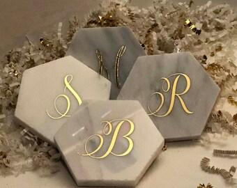 Initial Coasters | Monogram Marble Coaster Set | Personalized Marble Coaster Set | Marble and Gold Coasters