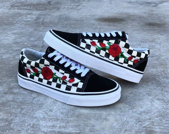 custom vans, vans, rose vans, embroidered vans, custom rose vans, red rose vans, floral vans, vans roses, checkered vans, vans rose, custom