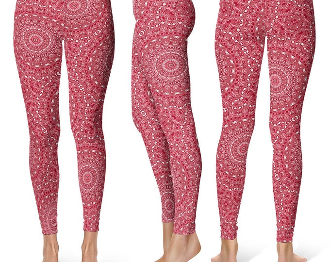 Burgundy Leggings Yoga Pants, Unique OOAK Gift, One of a Kind Clothing, Printed Yoga Tights for Women