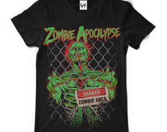 Mens Zombie Apocalypse T-Shirt (SB448)   Dad T-Shirt   Gifts For Men