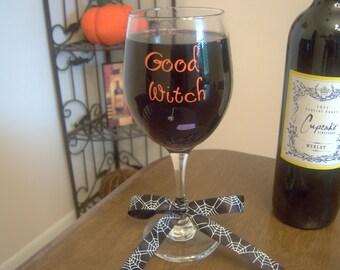 Good Witch/Bad Witch Wine Glass