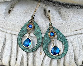 Jewel Chandelier Earrings, Bohemian, Teal, Sapphire Blue, Capri Blue, Hippie Earrings, Boho Jewelry