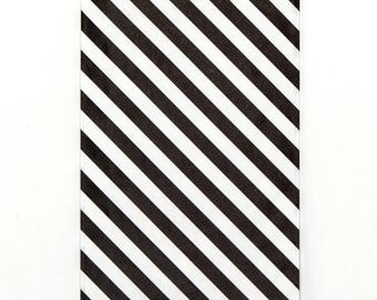 black stripe bags, 6x9 - Black and White Diagonal Stripe party bag - Stripe paper sack - Stripe Gift Bag - Black Stripe merchandise bag