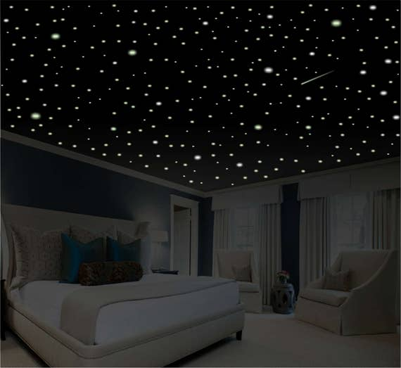 Bedroom Art Amazon Diy Romantic Bedroom Decorating Ideas Universal Furniture Bedroom Sets Bedroom Interior With Cupboard: Romantic Bedroom Decor Star Wall Decal Glow In The Dark