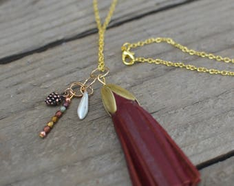 Red Tassel long neckalce with copper pinecone and galss bead charms