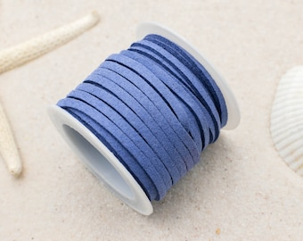 Blue Suede Cord, 3mm Flat Cord, 5 Meters,   Jewelry Cord -S16